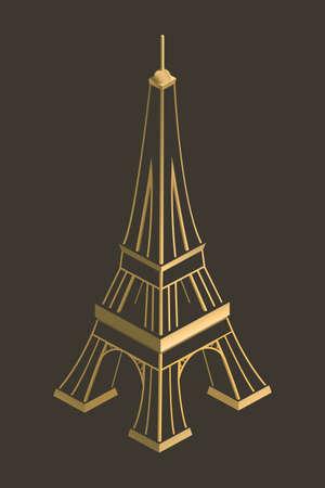 Eiffel Towergold dark background