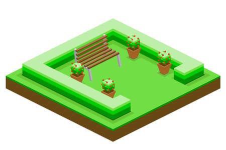 Set di disegni da giardino, quadrato, giardino, isometrico