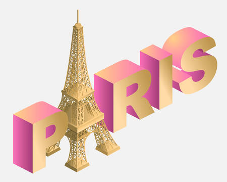 3d, tower, france, design, isometric, eiffel, object, illustration, vector, paris Ilustracja