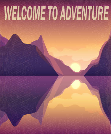 Landscape, mountains and water, sea, evening landscape, adventure, retro style, poster