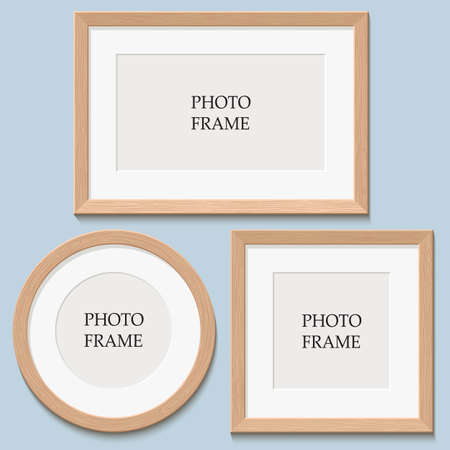 set, 3 frames on the wall. place for your design, Stock Illustratie