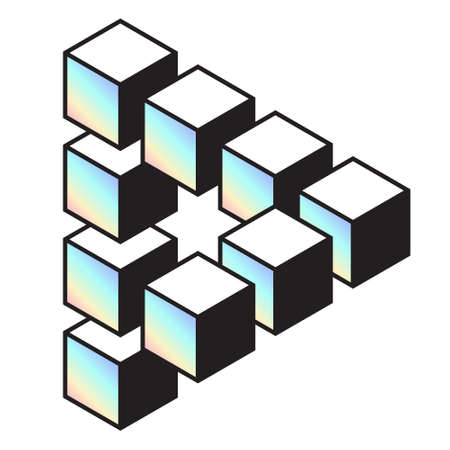 Mathematical object with mental trick. Optical illusion of brain. Symbol with three-dimensional effect. Imp art. 일러스트