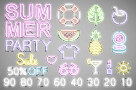 summer neon set, sale and party