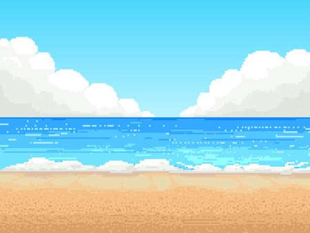 Retro pixel 8 bit background. beach,