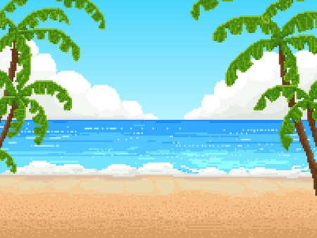 Sfondo retrò pixel 8 bit. spiaggia, palma