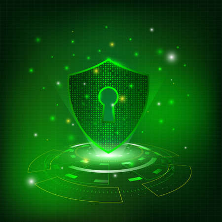 Technology security Shield With Keyhole on green background 向量圖像