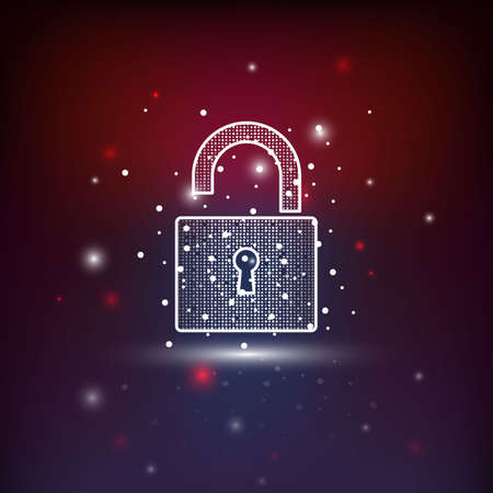 Technology security lock With Keyhole on background. open castle. copyright risk Illustration
