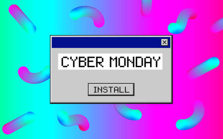 Cyber Monday. Retro 80s, 90s style vintage art background.  イラスト・ベクター素材
