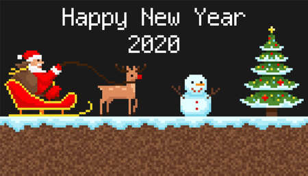 pixel background, happy new year, embroidery,