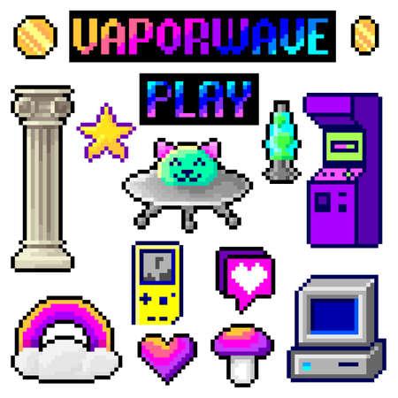 Pixel set, vaporwave, bright design for retro compositions, 8 bit games
