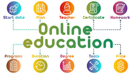 Background, Vector Illustration, table, infographics, line colorful icons. ollection of global education, e-learning. You can combine with other icons from my sets.