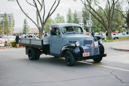 yat: Woodland Hills, CA - Abril 5, 2015: Dodge classic truck on displa yat the Supercar Sunday Pre-1973 Muscle car event.