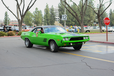 challenger: Woodland Hills, CA - Abril 5, 2015: Dodge Challenger classic car on display at the Supercar Sunday Pre-1973 Muscle car event.