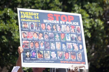 consequence: Los Angeles, CA, USA - April 14, 2015:  Pictures of people murdered by police during Stop Murder by Police. Protest against the brutalization and murdering of black and latino people by police for decades without consequence.