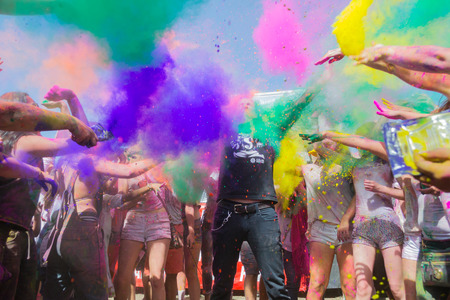 Norwalk, California, USA - March 7, People celebrating during the color throw at the Holi Festival of Colors