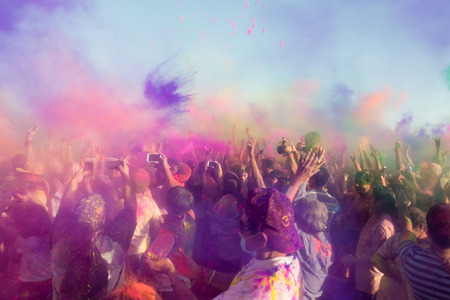 Norwalk, California, USA - March 7, 2015: People celebrating during the color throw at the Holi Festival of Colors