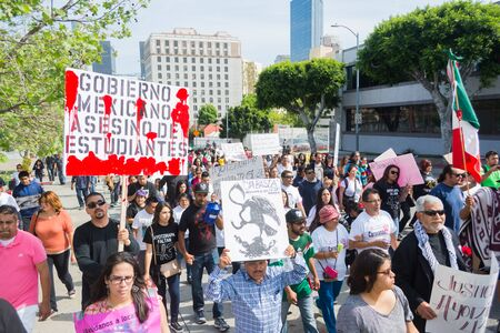 institutional: Los Angeles, California, USA - March 22, 2015 - Relatives of the 43 students who disappeared in Mexico packed the streets of downtown Los Angeles to bring attention to their cause and seek support.