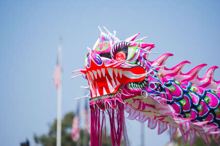 babylonian: Los Angeles, California, USA - March 21, 2015 - Chinese dragon at the Norooz Festival and Persian Parade new year celebration.