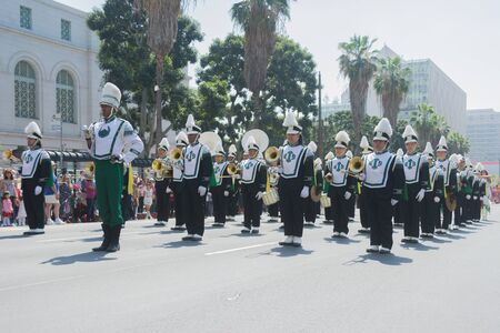 school band: Los Angeles, California, USA - March 21, 2015 - Inglewood High School Band High School band plays for the spectators  at the Norooz Festival and Persian Parade new year celebration.