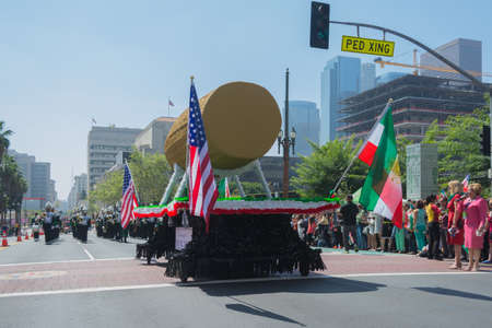 babylonian: Los Angeles, California, USA - March 21, 2015 - Cyrus Cylinder parade float  at the Norooz Festival and Persian Parade new year celebration.
