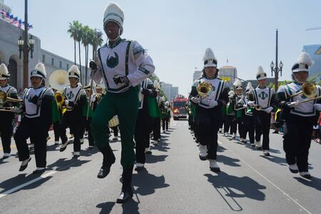 march band: Los Angeles, California, USA - March 21, 2015 - Inglewood High School Band High School band plays for the spectators  at the Norooz Festival and Persian Parade new year celebration.
