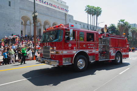 babylonian: Los Angeles, California, USA - March 21, 2015 - Fire Truck at the Norooz Festival and Persian Parade new year celebration.