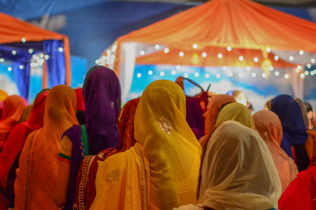 devotee: Los Angeles, CA, USA - April 5, 2015: Devotee Sikhs praying  at the Anniversary of Baisakhi celebration. Editorial