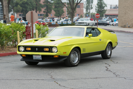 mach 1: Woodland Hills, CA, USA - July 5, 2015: Ford Mustang Mach 1 car on display at the Supercar Sunday car event.