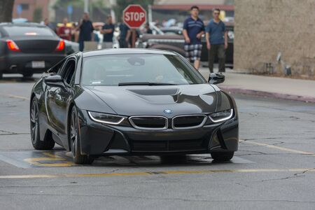 Woodland Hills, CA, USA - July 5, 2015: BMW i8 car on display at the Supercar Sunday car event. Stok Fotoğraf - 42367231