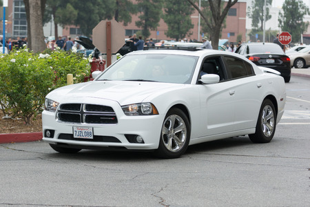 challenger: Woodland Hills, CA, USA - July 5, 2015: Dodge Challenger SRT car on display at the Supercar Sunday car event.