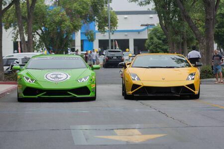 gallardo: Woodland Hills, CA, USA - July 5, 2015: Lamborghini Huracan and Lamborghini Gallardo car on display at the Supercar Sunday car event. Editorial