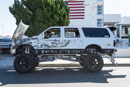monster truck: Van Nuys, CA - USA - September 20, 2015:  Monster Truck on display at The 4th Annual Galpin Car Show.