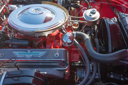 thunderbird: Van Nuys, CA - USA - September 20, 2015:  Ford Thunderbird engine on display at The 4th Annual Galpin Car Show. Editorial