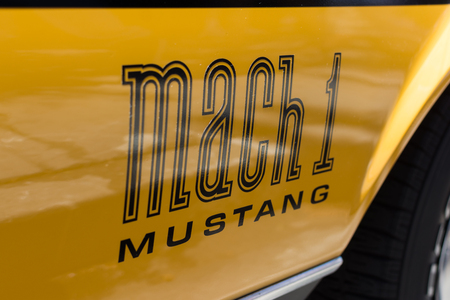 mach: Van Nuys, CA - USA - September 20, 2015:  Mustang Mach 1 emblem on display at The 4th Annual Galpin Car Show.