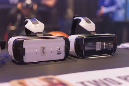 rift: Los Angeles, CA - USA - August 29, 2015: Virtual headsets during VRLA Expo, virtual reality exposition, event at the Los Angeles Convention Center in Los Angeles.