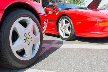 pasadena: Pasadena, USA - April 24, 2016: Ferrari wheels and rims  on detail on display at the 9th Annual Concorso Ferrari event.