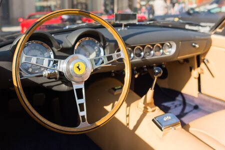 ferrari: Pasadena, USA - April 24, 2016: Ferrari Dashboard on display at the 9th Annual Concorso Ferrari event.