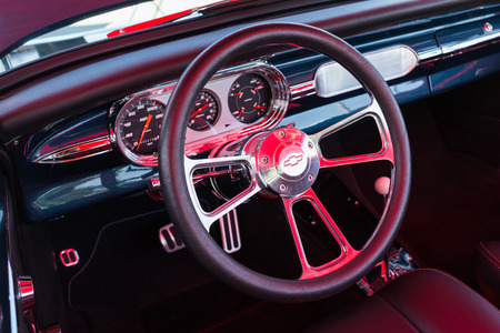 manufacturer: Pomona, USA - March 12, 2016: Chevrolet dashboard during 3rd Annual Street Machine and Muscle Car Nationals