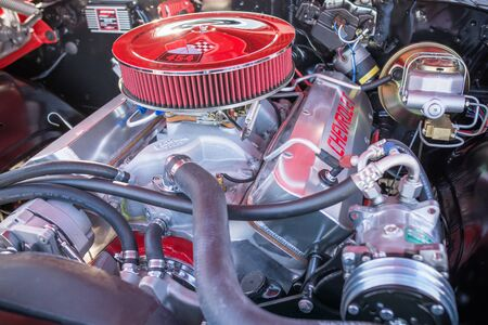 ss: Pomona, USA - March 12, 2016: Customized muscle car engine displayed during 3rd Annual Street Machine and Muscle Car Nationals Editorial