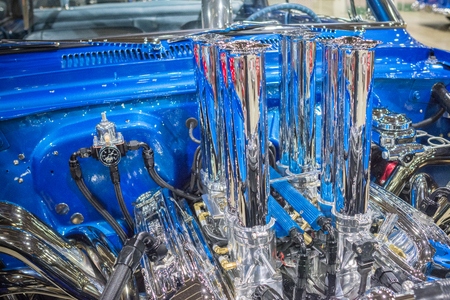 Pomona, USA - March 12, 2016: Customized muscle car engine displayed during 3rd Annual Street Machine and Muscle Car Nationals Redakční