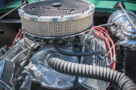 customized: Pomona, USA - March 12, 2016: Customized muscle car engine displayed during 3rd Annual Street Machine and Muscle Car Nationals Editorial