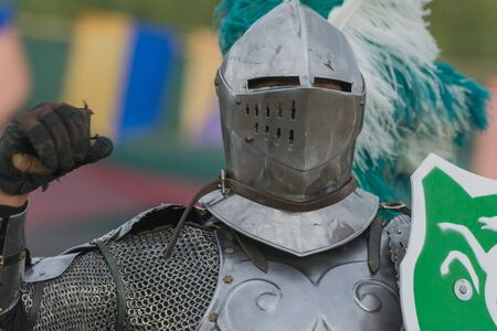 chivalry: Irwindale, CA - USA - May 07, 2016: Actor as medieval knight during The 54th Annual Renaissance Pleasure Faire. Editorial