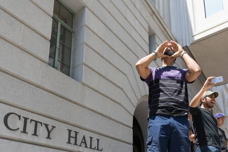 occupy movement: Los Angeles, USA - July 12, 2016 -  Black lives matter protestor shouting during march on City Hall following ruling on LAPD fatal shooting of African American female Redel Jones Editorial