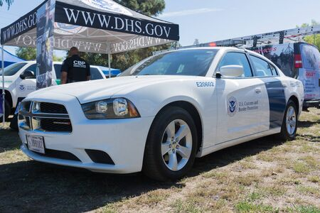 flight mode: Lakeview Terrace, USA - June 18, 2016: U.S. Customs and Border Protection vehicle during Los Angeles American Heroes Air Show, event designed to educate the public about rotary-wing aviation. Editorial