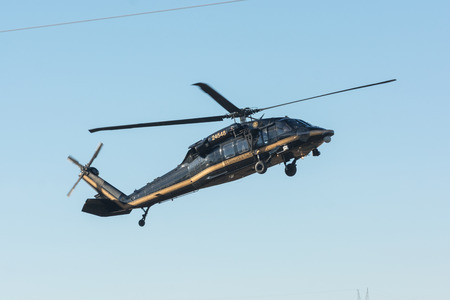 Lakeview Terrace, USA - June 18, 2016: U.S. Customs and Border Protetion Sikorsky UH-60A Black Hawk helicopter during Los Angeles American Heroes Air Show, event designed to educate the public about rotary-wing aviation.