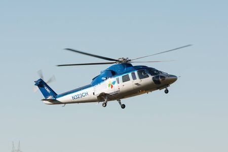 lakeview: Lakeview Terrace, USA - June 18, 2016: Sikorsky S-76 helicopter  during Los Angeles American Heroes Air Show, event designed to educate the public about rotary-wing aviation.
