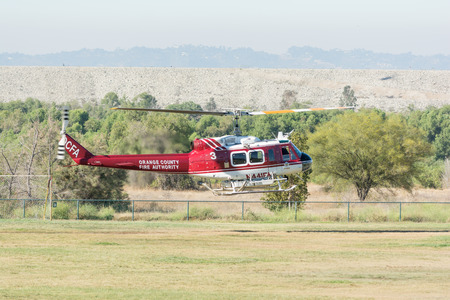 flight mode: Lakeview Terrace, USA - June 18, 2016: BELL UH-1H Rotorcraft  helicopte during Los Angeles American Heroes Air Show, event designed to educate the public about rotary-wing aviation.