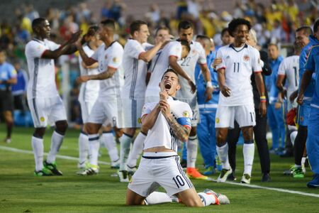 scored: Pasadena, USA - June 07, 2016: James Rodriguez celebrates a goal scored during Copa America Centenario match Colombia vs Paraguay at the Rose Bowl Stadium.
