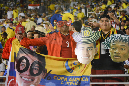 Pasadena, USA - June 07, 2016: Soccer fans during Copa America Centenario match Colombia vs Paraguay at the Rose Bowl Stadium. Editorial