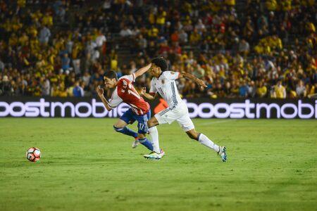 Pasadena, USA - June 07, 2016: Soccer players running during Copa America Centenario match Colombia vs Paraguay at the Rose Bowl Stadium.